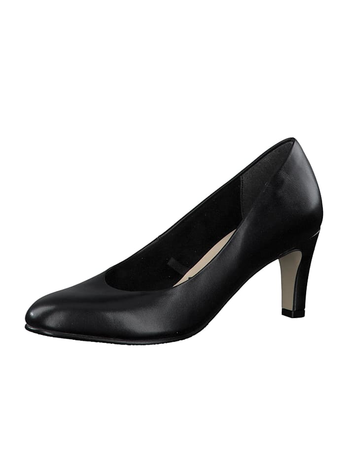 Tamaris Damen Klassische Pumps  1-22414-25 Schwarz 003 BLACK LEATHER Leder mit TOUCH-IT, BLACK LEATHER