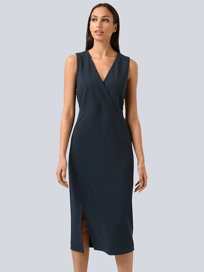 Alba Moda Kleid mit Wickel-Layer, Marineblau