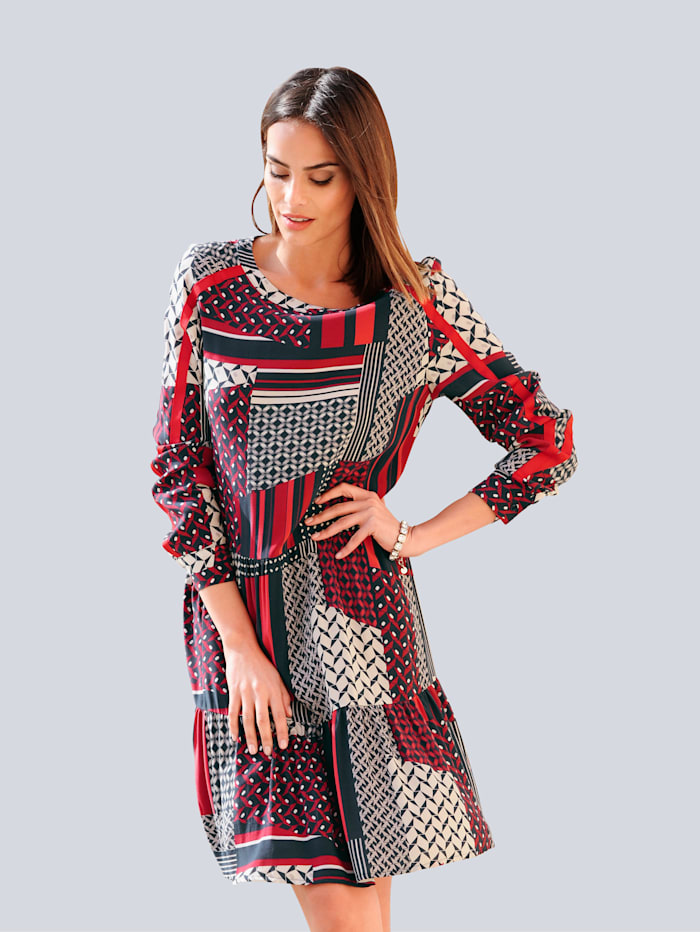 Alba Moda Kleid im exklusiven Dessin von Alba Moda, Marineblau/Rot/Off-white