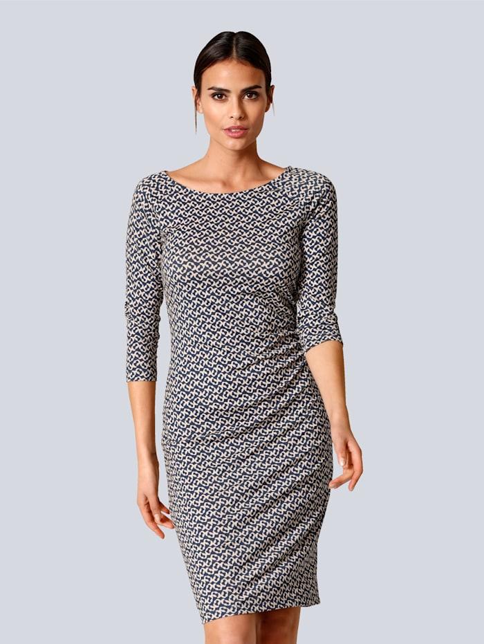 Alba Moda Kleid mit femininer Raffung seitlich in der Taille, Marineblau/Taupe