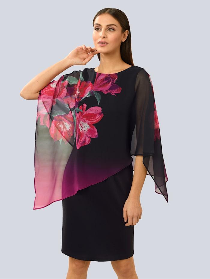Alba Moda Kleid mit modischer Chiffonlage, Schwarz/Pink