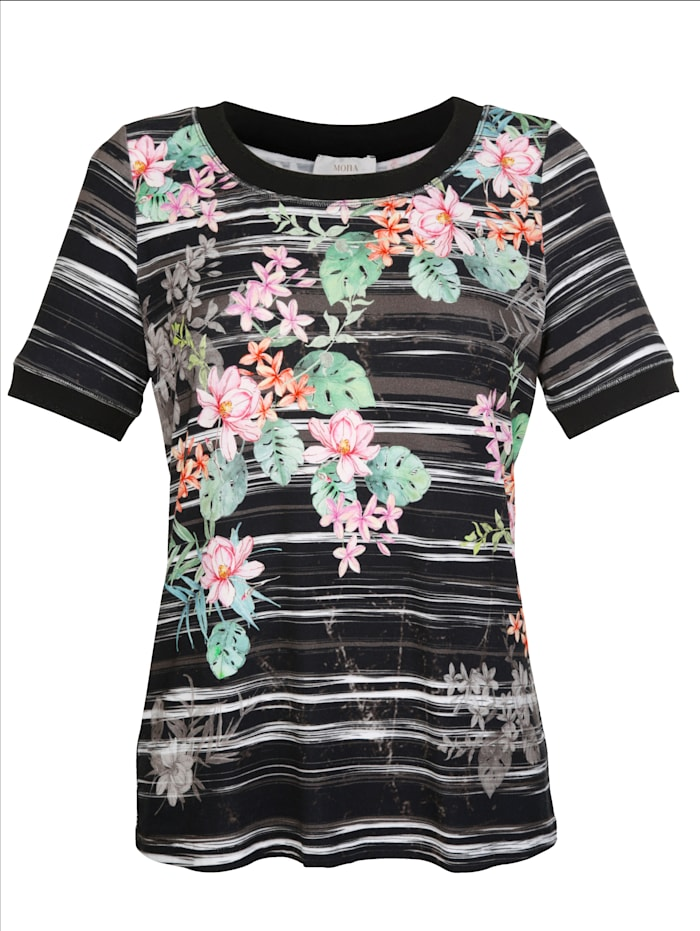 Shirt im platzierten Muster-Mix