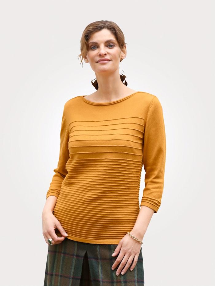 MONA Pullover mit Strukturringel, Gelb
