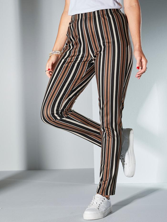MIAMODA Žerzej kalhoty s proužkovým vzorem, Černá/Bílá/Hnědá