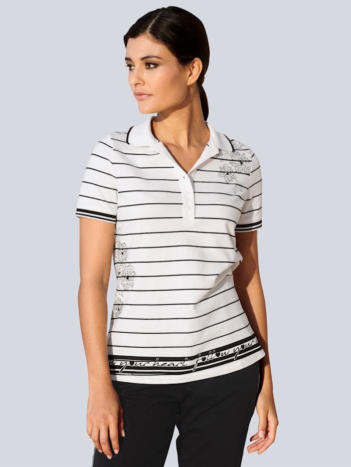 Alba Moda Poloshirt met exclusieve print van ALBA MODA, Wit/Zwart