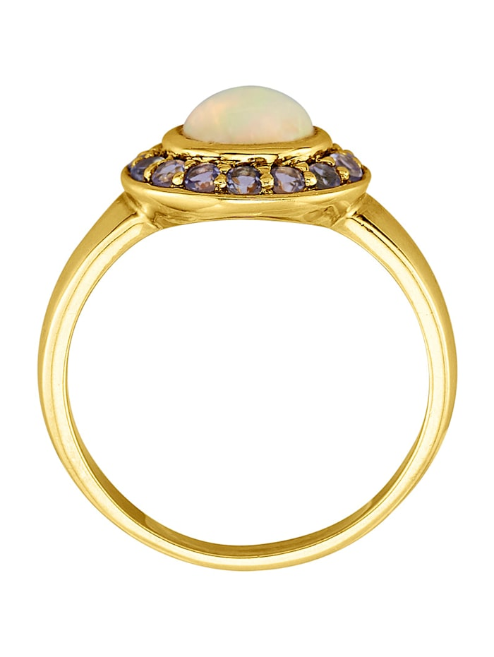 Damesring met opaal en tansanieten