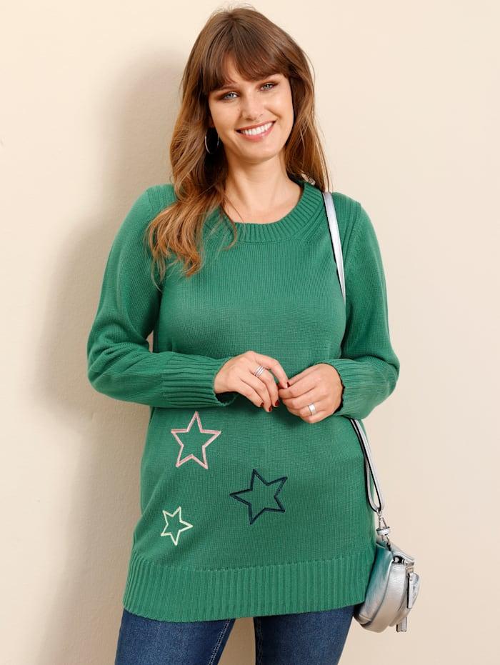 MIAMODA Pullover mit Sternen, Grün