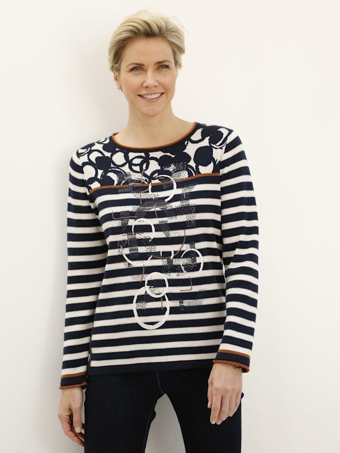 Rabe Pullover mit grafischem Jacquardmix, Marineblau/Weiß/Braun