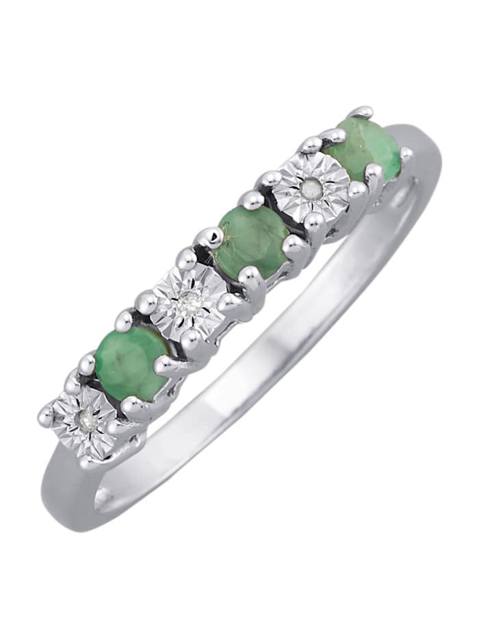 Damenring, 925 mit 3 Diamanten, Silberfarben
