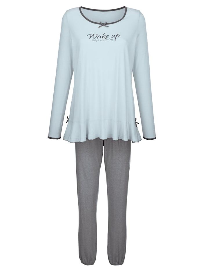Simone Schlafanzug mit süßen Satinschleifchen, ciel/grau
