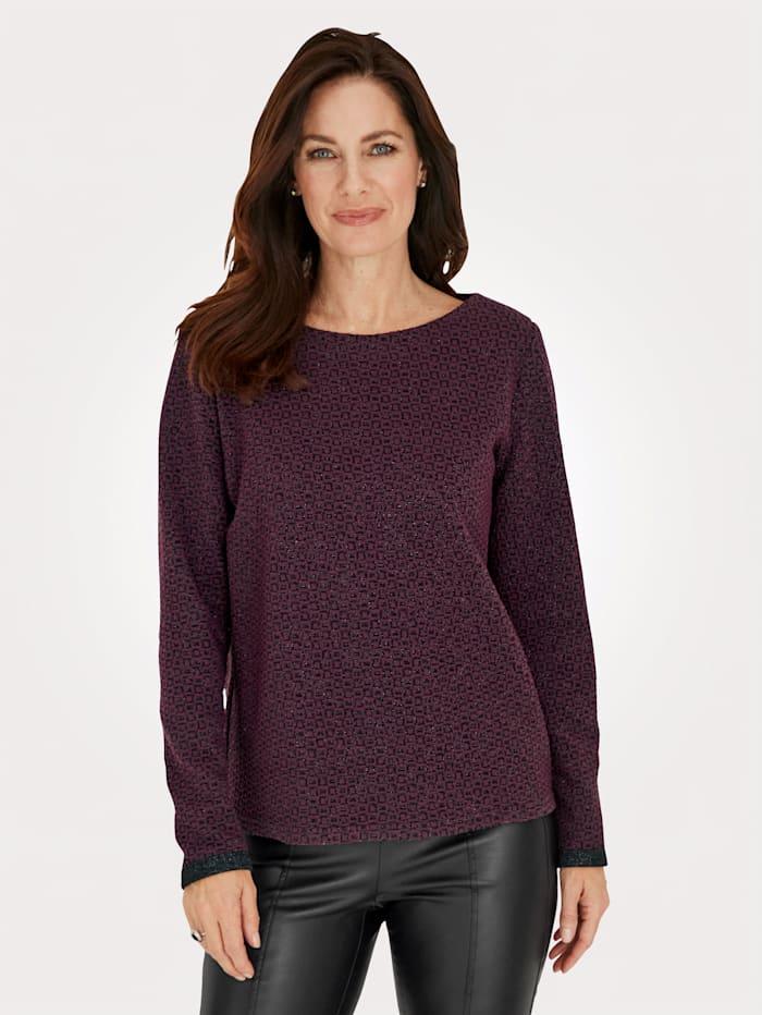 MONA Sweatshirt mit grafischem Jaquard-Muster, Beere/Schwarz/Silberfarben