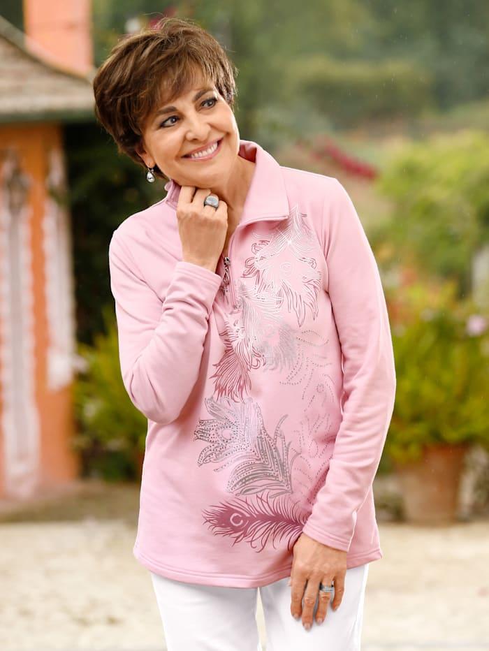 Paola Sweat-shirt à imprimé feuilles, Rose clair
