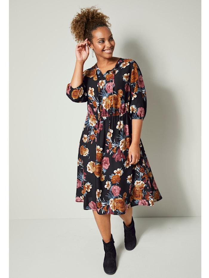 Angel of Style Kleid mit Blumendruck, Schwarz/Beige/Rosé
