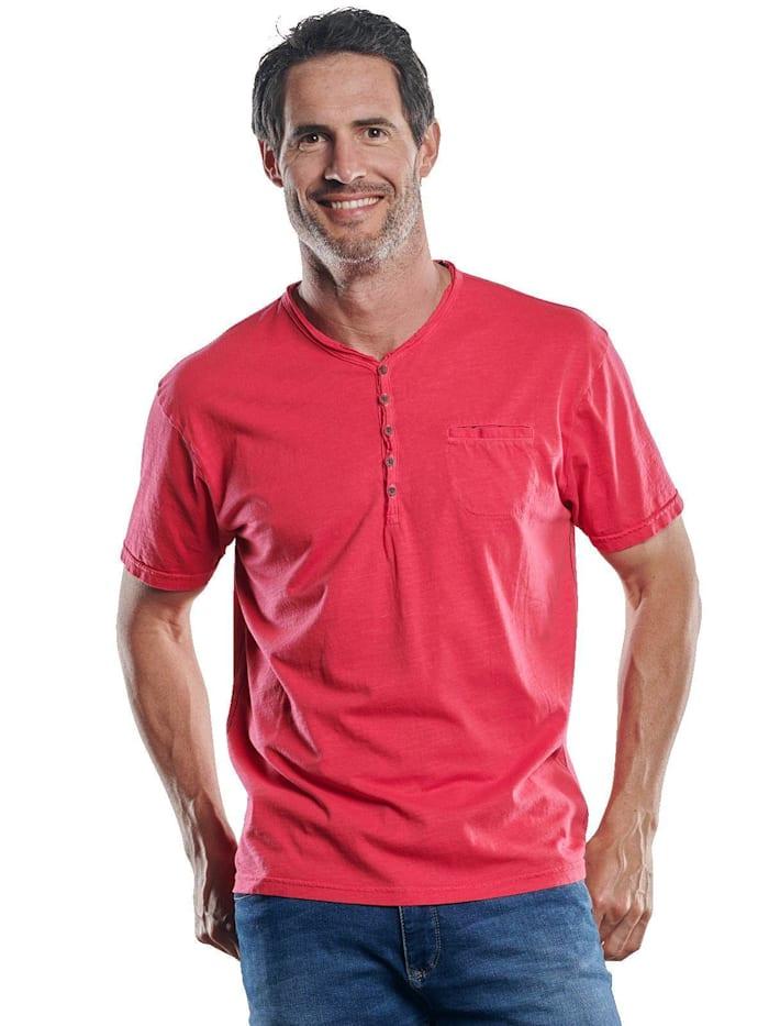 Engbers Lebhaftes Shirt mit Henleydesign, Tomatenrot