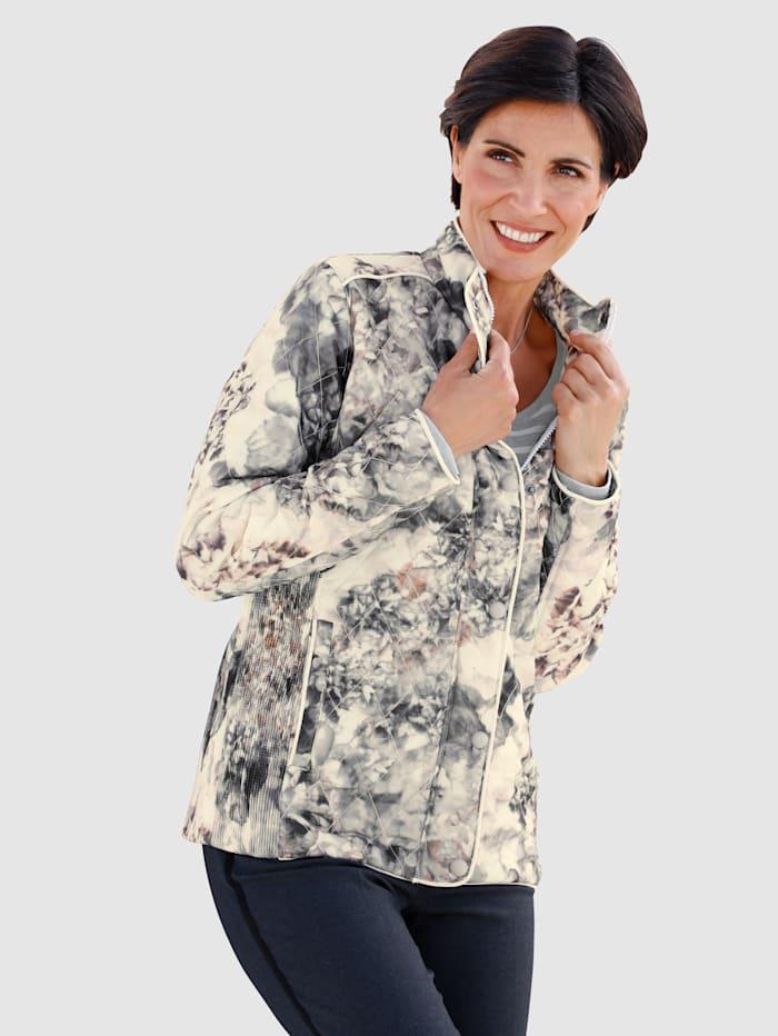 Jessica Graaf Gewatteerde jas met bloemenprint, Zand/Grijs