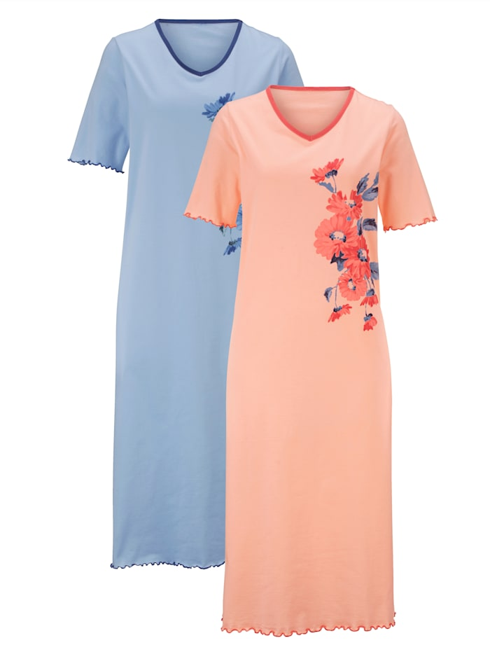 Harmony Nachthemden met bloemendessin, Apricot/Lichtblauw