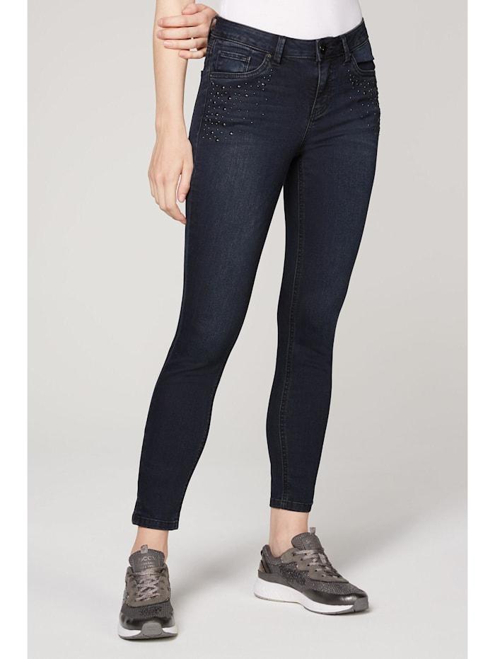 SOCCX Slim Fit Jeans MI:RA mit Strasssteinen, blue black sparkle