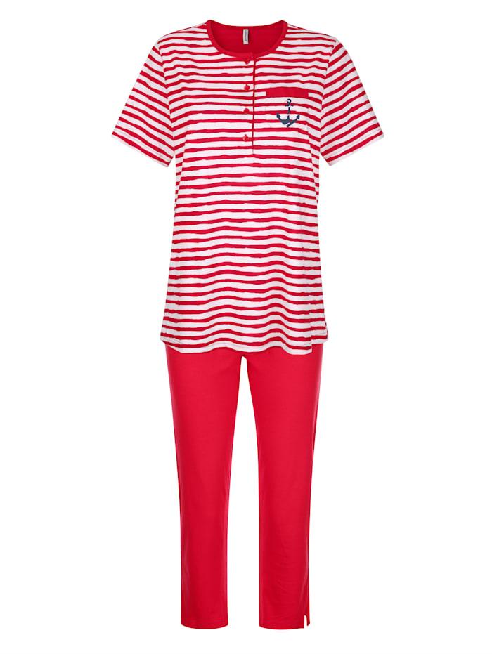 Comtessa Schlafanzug aus dem Cotton made in Africa Programm, Rot/Weiß