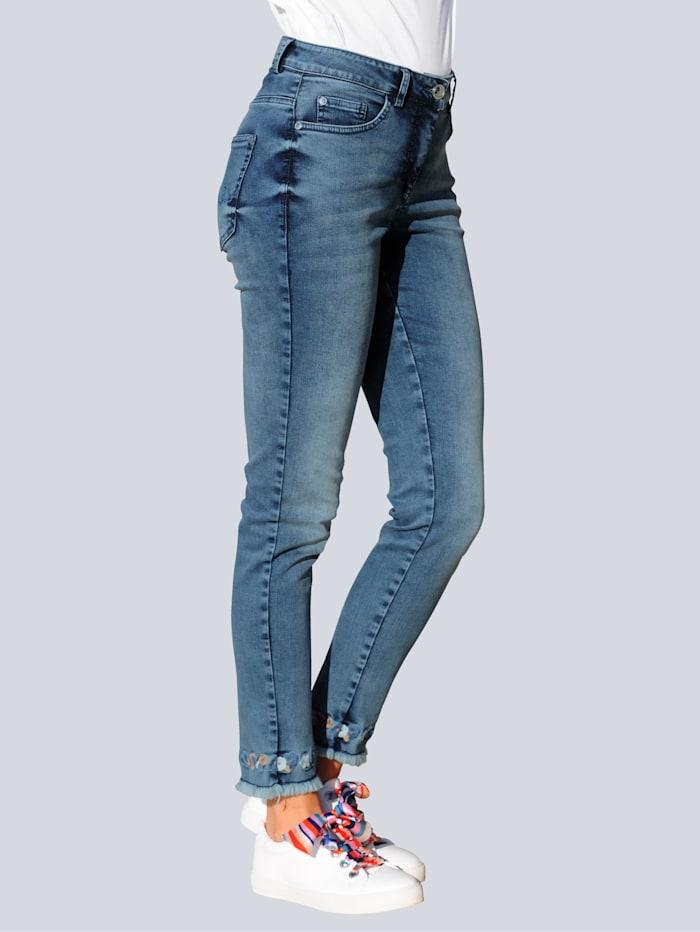 Alba Moda Jeans mit effektvoller Saumverarbeitung, Blau