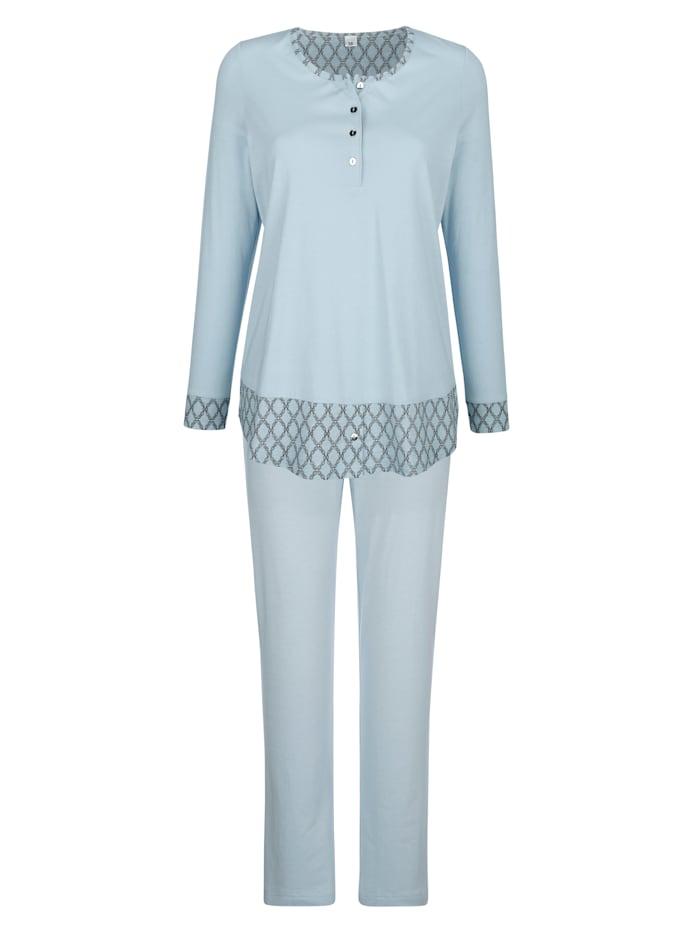 Simone Pyjama met contrastinzetten aan de mouwen, Rookblauw/Ecru/Grijs
