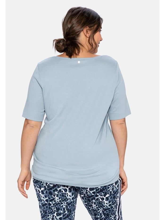 Shirt mit Frontdruck und Saumbändchen