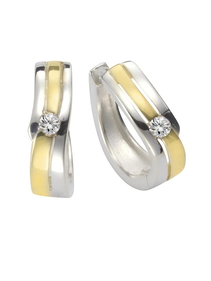ZEEme Creolen 925/- Sterling Silber Zirkonia weiß 1,5cm Glänzend 925/- Sterling Silber, mehrfarbig