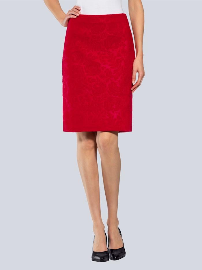 Alba Moda Rock mit floralem Ton-in-Ton Muster, Rot