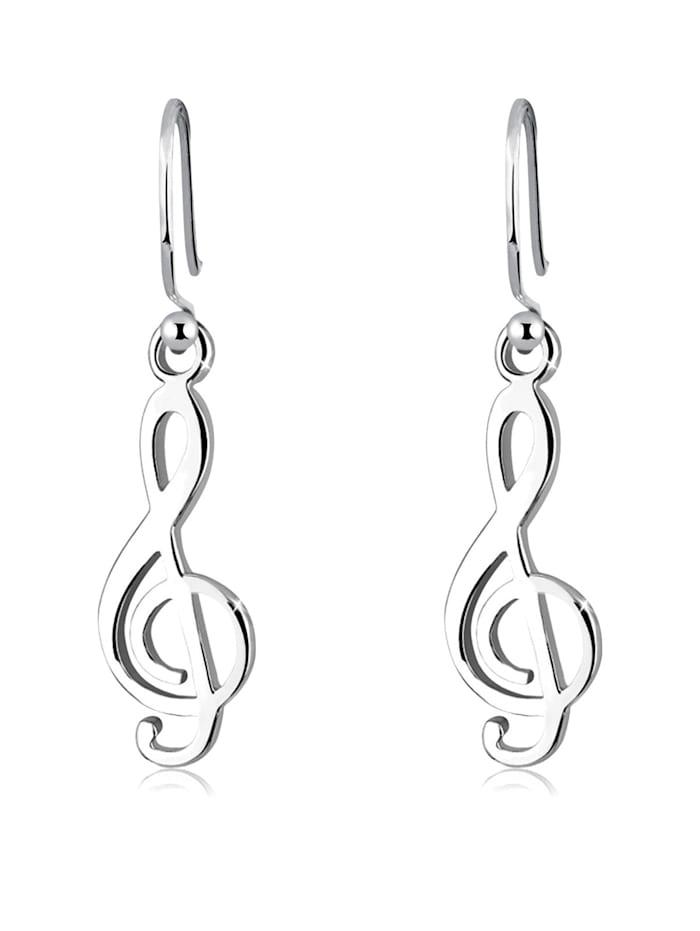 Elli Ohrringe Notenschlüssel Musik Filigran 925 Silber, Silber