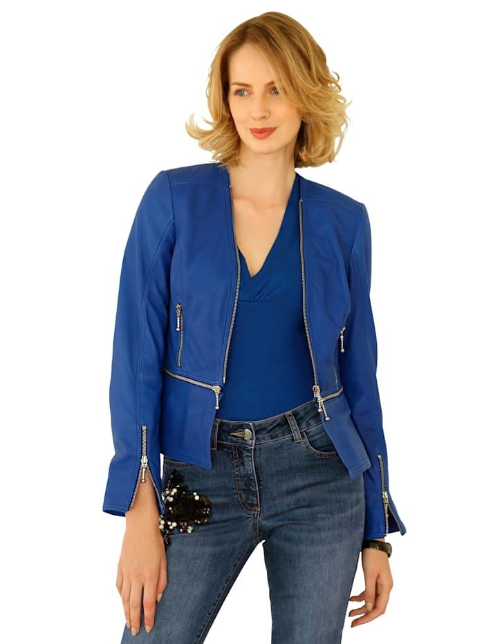 AMY VERMONT Leren jasje met afritsbaar schootje, Royal blue