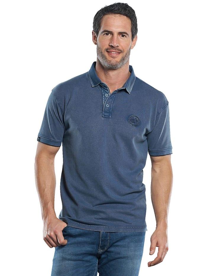 Engbers Lässiges Piqué Poloshirt mit Kontrastdetails am Kragen, Marineblau