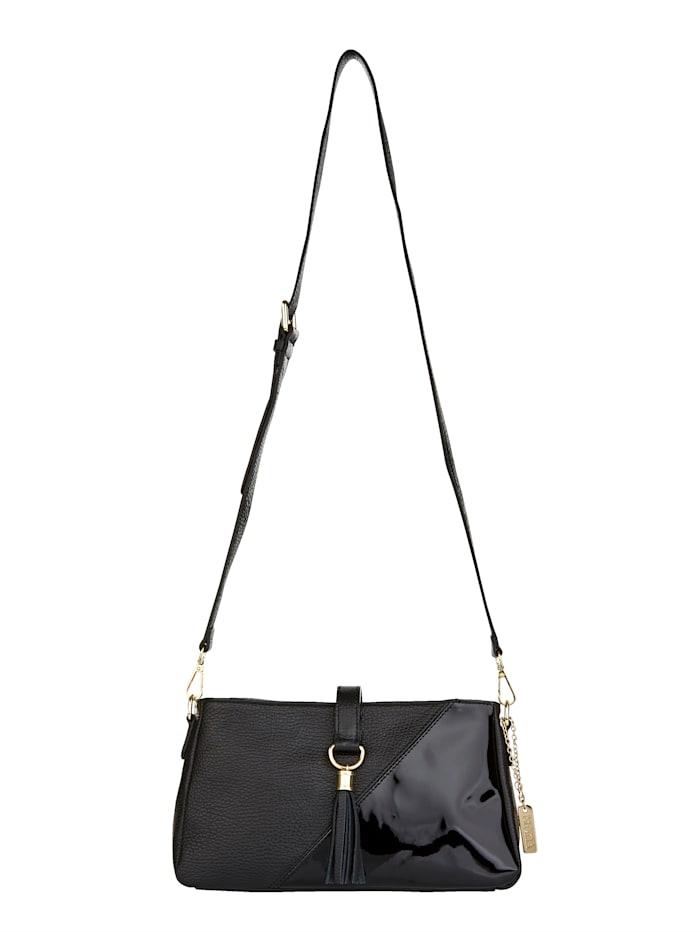MONA Shoulder bag made from premium leather, Black