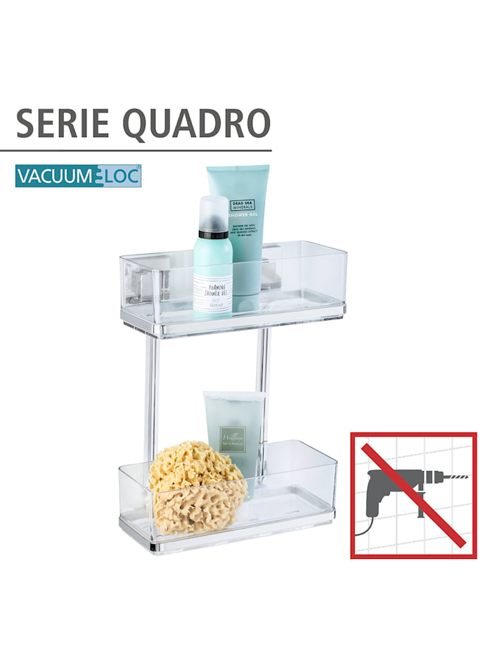 Vacuum-Loc® Wandregal 2 Etagen Quadro Edelstahl, Befestigen ohne bohren