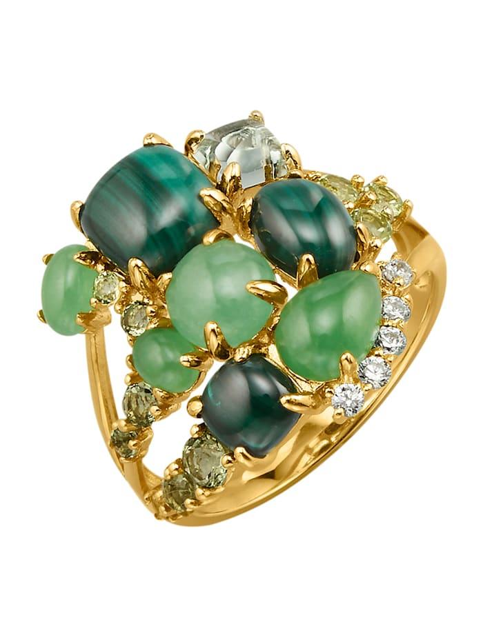 Ring med malakit, jade, moldavit, peridot, ametist och cubic zirconia, Guldfärgad