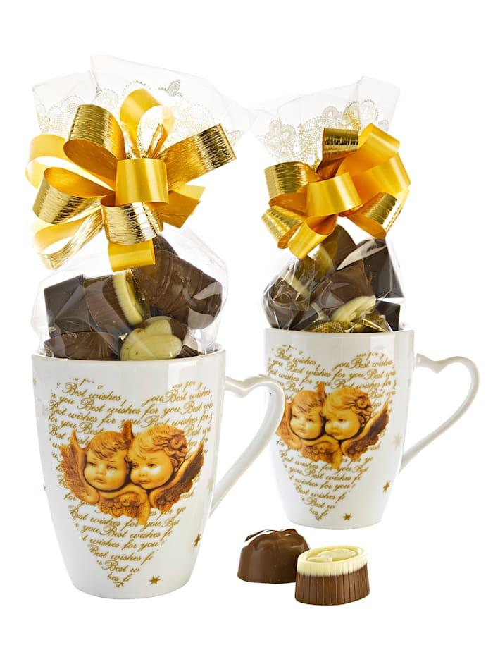 Pfeiffer & Sperl Ensembe de 2 mugs 'Ange' garnis, Neutre