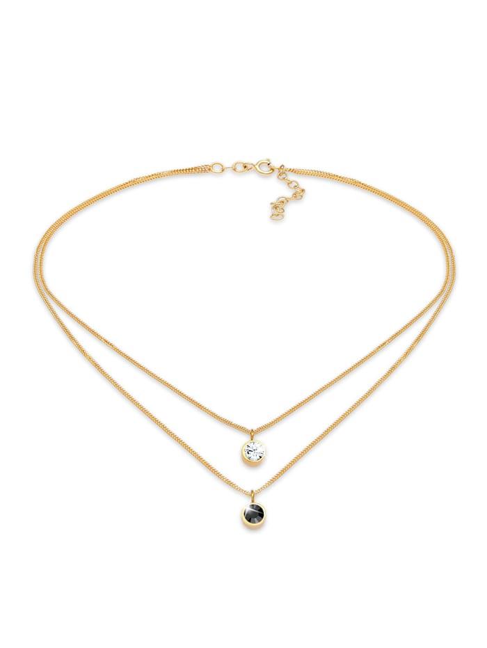 Elli Halskette Choker Layer Kristalle Rund 925 Silber, Gold