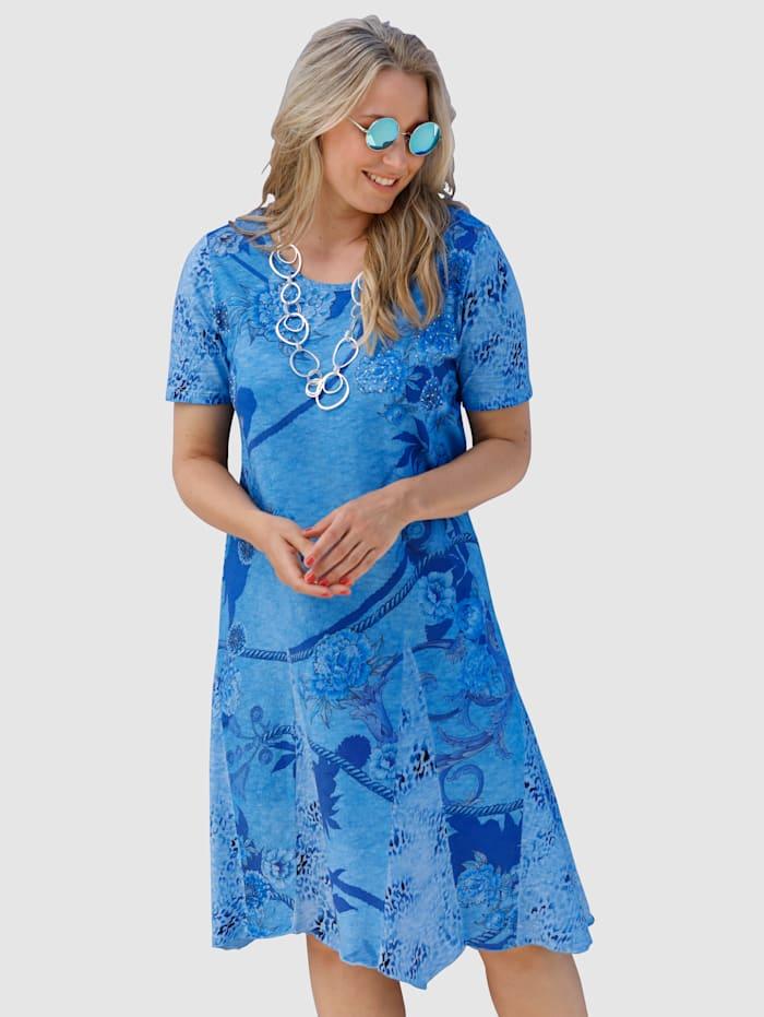 MIAMODA Koristekivin somistettu mekko, Sininen