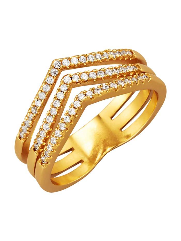 Golden Style Damenring 3rhg. mit weißen synth. Zirkonia, Gelbgoldfarben