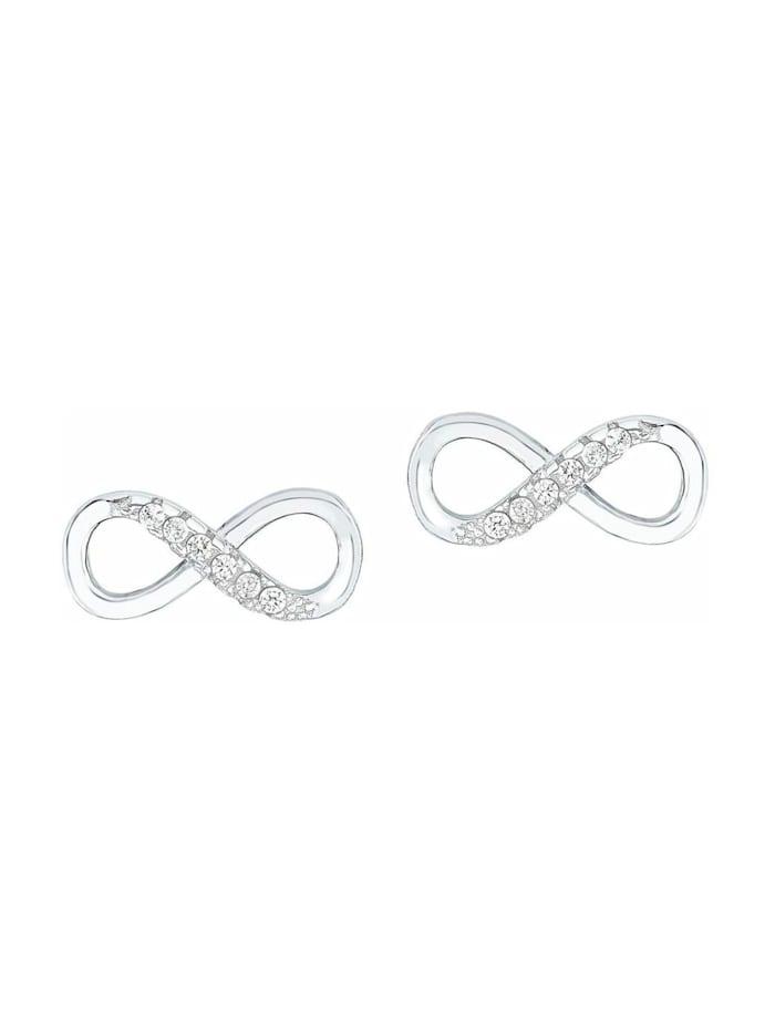 amor Ohrstecker für Damen, Sterling Silber 925, Zirkonia Infinity, Silber