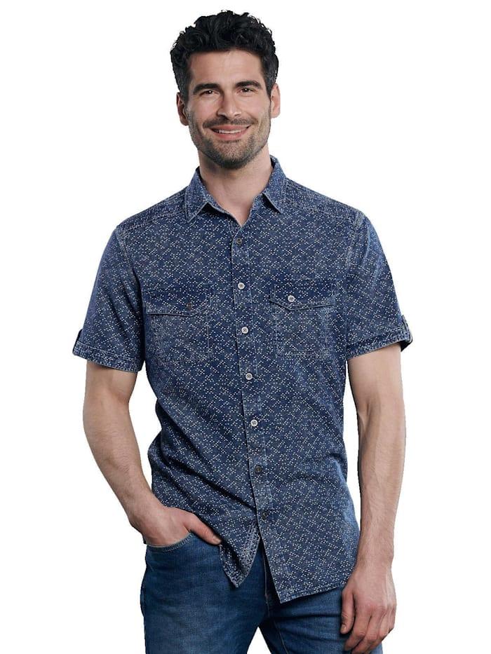Engbers Kurzarm-Hemd gemustert, Indigoblau