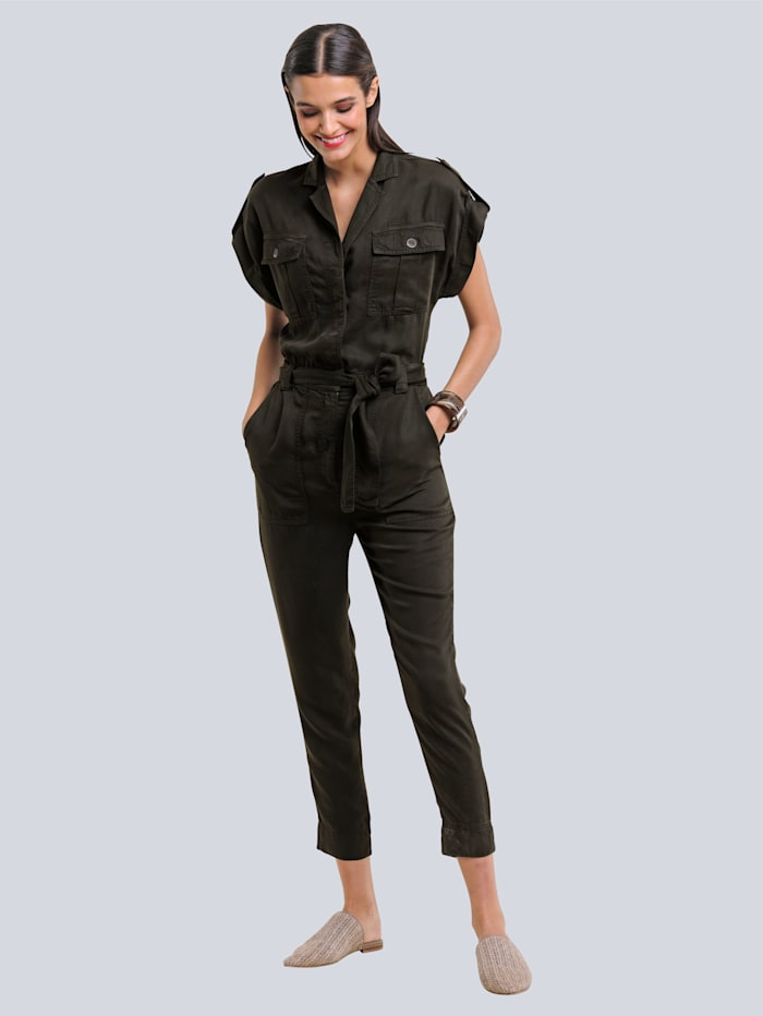 Alba Moda Combi-pantalon de style safari tendance, Kaki
