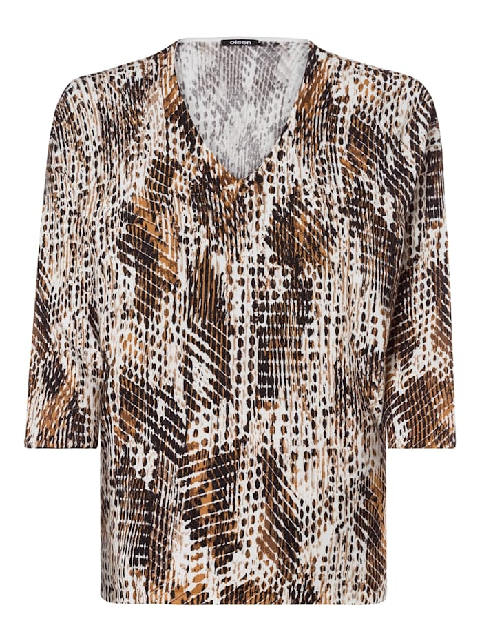 Olsen V-Ausschnitt-Pullover mit abstraktem Animalprint, Pecan Brown