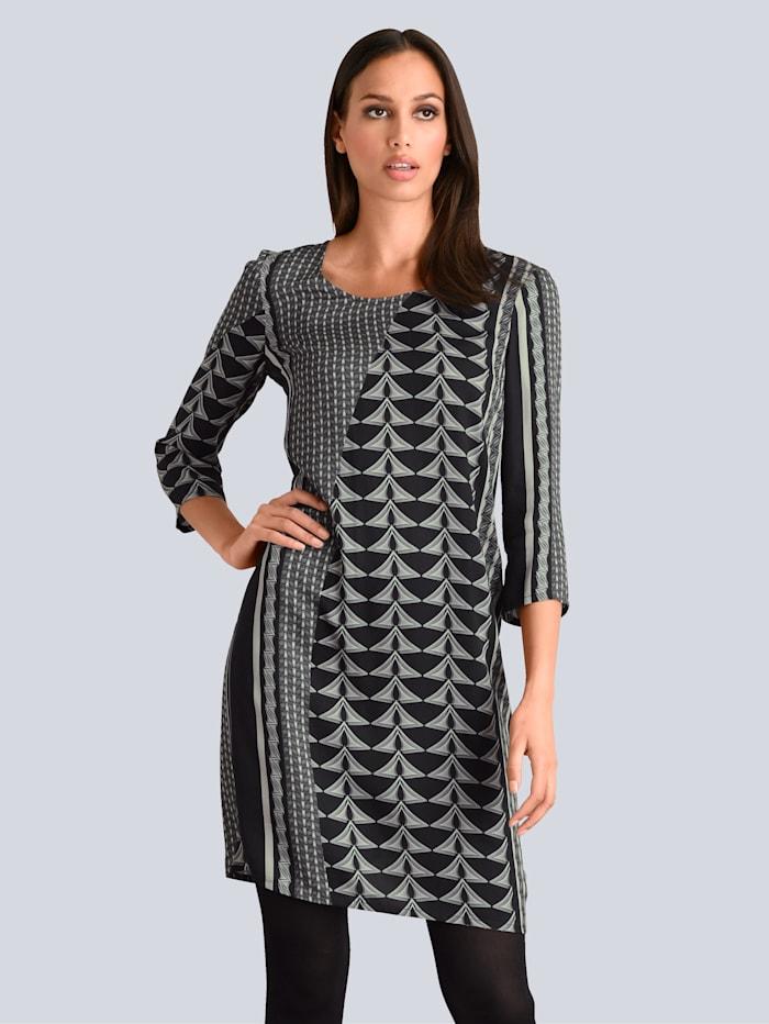 Alba Moda Kleid aus edler Viskose-Ware, Grau/Schwarz