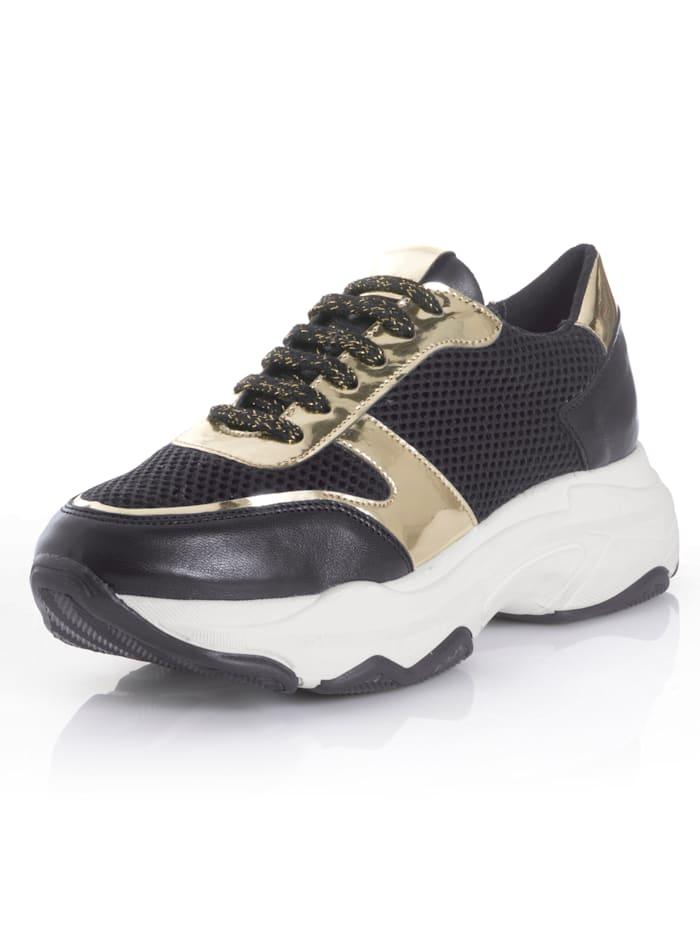 Alba Moda Sneaker mit Chunky-Sohle, Schwarz/Goldfarben