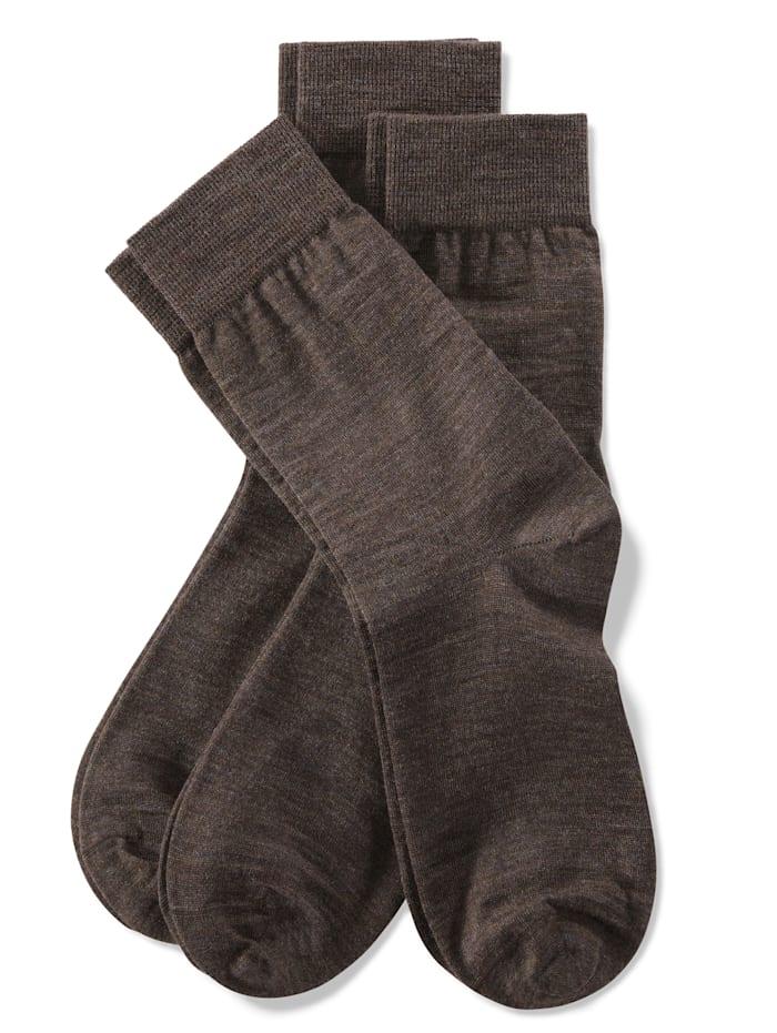Weissbach Socken mit handgekettelter Spitze, Braun