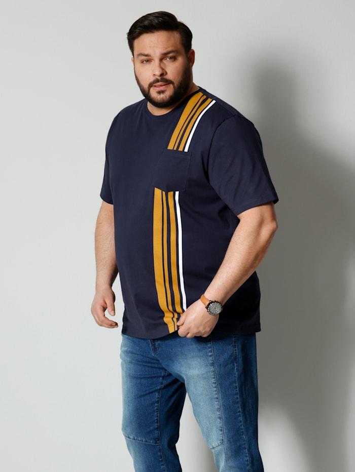 Men Plus T-Shirt aus reiner Baumwolle, Marineblau/Maisgelb/Weiß