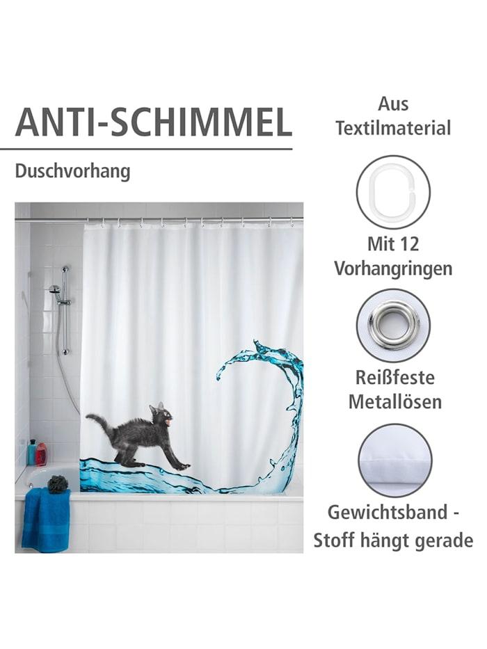 Anti-Schimmel Duschvorhang Cat, Textil (Polyester), 180 x 200 cm, waschbar