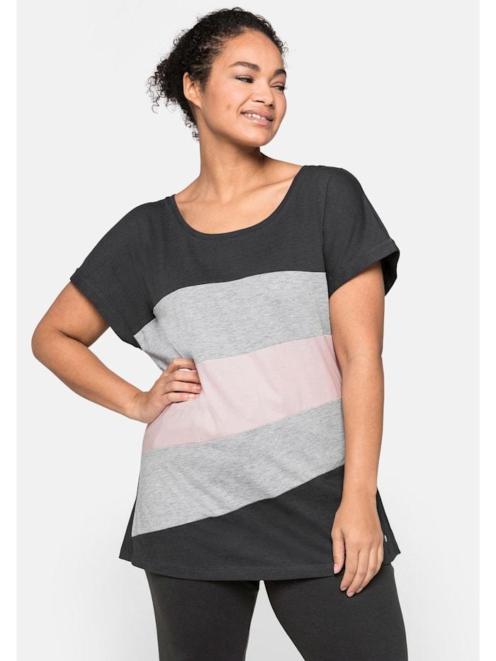 Sheego Shirt im Colourblocking-Look, anthrazit