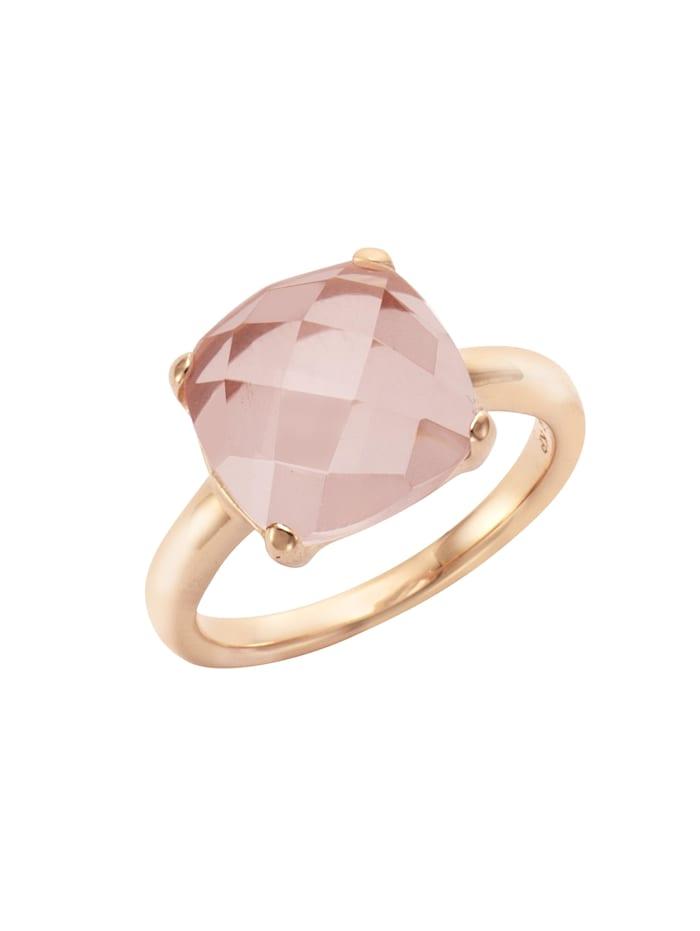 Jamelli Ring 925/- Sterling Silber Rosenquarz rosa Glänzend 925/- Sterling Silber, rot
