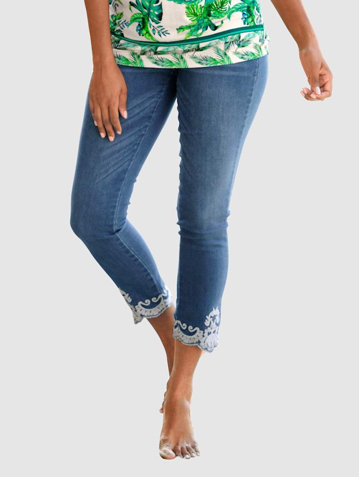 Alba Moda Jeans mit Ornamentstickerei, Bleached