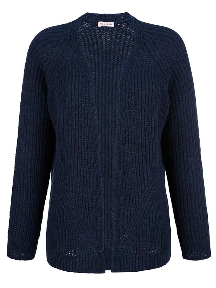Alba Moda Strickjacke in luftigem Grobstrick, Marineblau